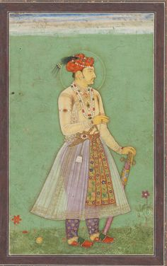 Jahangir standing facing right in a flowery meadow, with a sword in his left hand Mughal Paintings, Islamic Paintings, First Battle Of Panipat, Sufi Saints, Miniature Paintings, Mughal Empire, Medieval Manuscript, Museum Collection, Central Asia