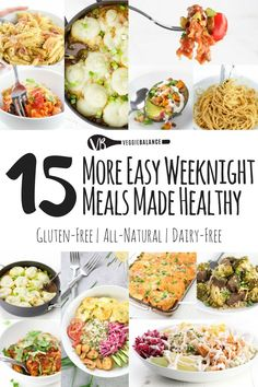 15 Easy Weeknight Meals recipe compilation making those weeknights dinner that much easier. All gluten-free dinners, some dairy-free and vegan.