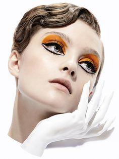 orange eye makeup Julia Belyakova by Julia Comita in L'Officiel Ukraine