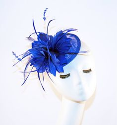 SALE Royal Blue Fascinator hat with feathers  by MadameMerrywidow