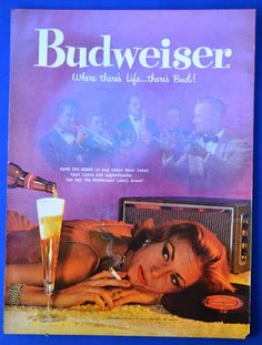 1958 Budweiser beer pretty woman smoking listening to music vintage print ad