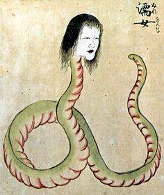 濡女 Specter of snake of a woman's head (360×430)