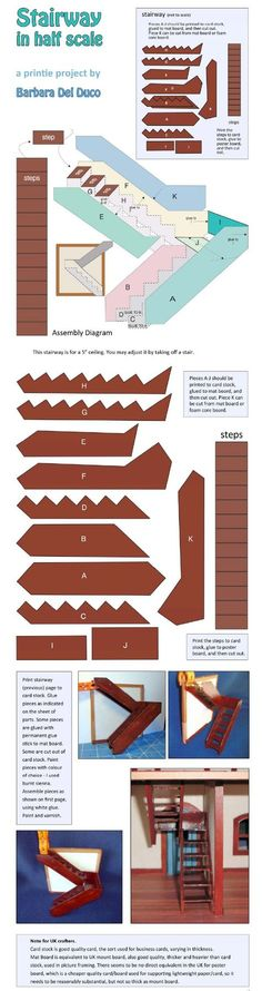 useless link - but a useful staircase pattern. This is for a half scale dollhouse, but it would be easy enough to enlarge it. In full scale, you would use thicker materials.