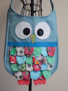 Feathered Owl Bag in Aqua Light Green and Pink by SarahsStitchesMI, $40.00