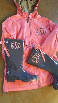 Charles River RainCoat with matching rainboots Monogram by Zindee