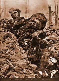 July 20th, 1915 - French Attempt to Break Through German Lines in the Vosges Mountains Pictured - French Chasseurs Alpins, elite mountain troops easily identifiable by their dark blue uniforms and their large floppy berets. In tough terrain like this, rocks made good makeshift weapons. The month of July saw more Entente attempts to break through German lines. On the 19th, the British blew up a massive underground mine at Hooge in Flanders, gouging a giant crater into the ground, which was th