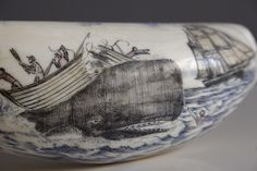 Beautiful scrimshaw whaling/boat depiction