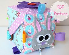 Items similar to Sensory Block PDF Sewing Pattern Felt Patterns, Pdf Sewing Patterns, Stuffed Toys Patterns, Sewing Tutorials, Sewing Projects, Sensory Blocks, Sensory Toys, Cube Bebe, Baby Cubes