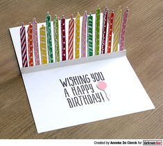 Card by Anneke De Clerck using Darkroom Door Candles Eclectic Stamp and Birthday Small Stamp Birthday Card Pop Up, Homemade Birthday Cards, Birthday Box, Kids Birthday Cards, Homemade Cards, Kids Cards, Cards Diy, Pop Up Box Cards, Greeting Cards Handmade
