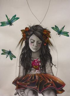 Alessia Iannetti | GRAPHITE and COLORED PENCIL | Frances With Dragonflies
