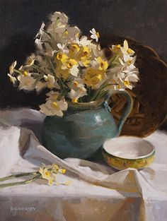 Laurie Kersey - Narcissus on White- Oil - Painting entry - March 2016 | BoldBrush Painting Competition