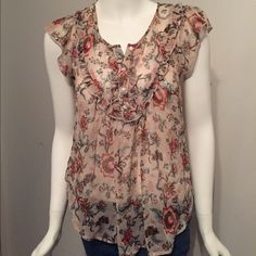 Floral Sheer Top Perfect colors for fall. Worn only a couple times. Bought it before it became available in stores. Personal stylist picked it out! Lily White Tops Blouses