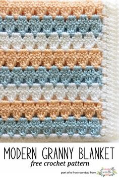 Get the free crochet pattern for this Modern Granny Stitch baby blanket from Daisy Farm Crafts featured in my gender neutral baby blanket FREE pattern roundup!