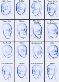 Noses and Jaws by Expression.deviantart.com on @deviantART different face shapes for different character archetypes.