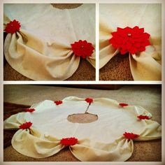Poinsettia felt tree skirt.