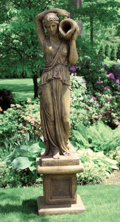 Grecian Woman With Pitcher Piped Statue Statues Garden