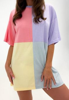 Oversized T Shirt Dress, Sweatshirt Dress, Color Blocking Outfits, Joko, Petite Outfits, Cute Casual Outfits, Chic Outfits, Summer Outfits, Cute Shirts