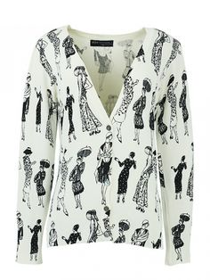 Fashion Beauty Figure Printing Long Sleeve Single Breasted Cardigan