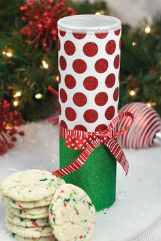 Christmas Cookie Tin Created by: Fun Squared Save those snack cylinder tins…they make great fun containers for cookies…candy…and other little things. With all these hacks…you don't have to look far for a wrapping idea!