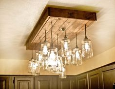 Mason Jar Wood Pallet Chandelier - Pendant Lighting Recycled Lamp
