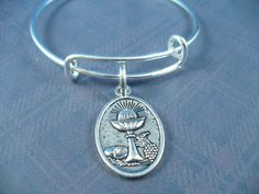First Communion Medal, Silver Bangle, Alex And Ani Inspired, Free Gift Box by DesignsBySuzze on Etsy