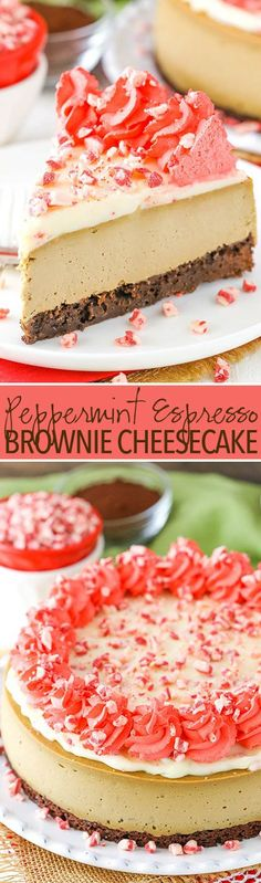 Peppermint Espresso Brownie Cheesecake - thick and creamy espresso cheesecake, peppermint ganache and a brownie bottom!