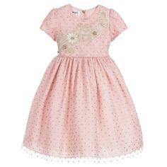 be1acc80be38df Graci Pink  amp  Gold Dotty Tulle Dress at Childrensalon.com Designer Kids  Clothes