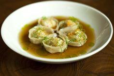 Shrimp Dumplings, Spicy Ginger Broth, Scallion Oil
