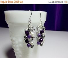 30% Off SALE thru Wedn Purple Gray White Pearl Crystal Cluster Earrings, Mothers Day Gift, Mom Sister Girlfriend Bridesmaid Wedding Jewelry