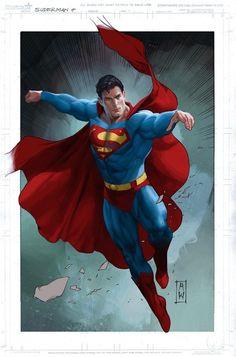 Superman by Admira Wijaya. Comic Book Artists, Comic Books Art, Comic Art, Superman Artwork, Batman Vs Superman, Superman Wallpaper, Clark Kent, Steel Dc Comics, Christopher Reeve Superman