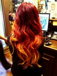 Ombre red orange hair long curls