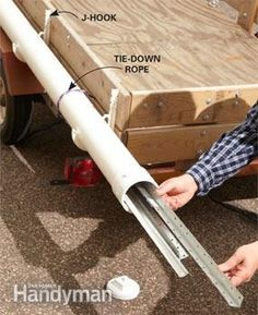 4 Inch PVC pipe along the trailer to haul trim etc....