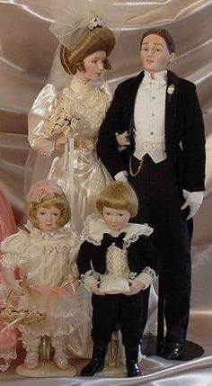 Franklin Mint 5 Gibson Girl Dolls Wedding Bride Groom Mother Boy Flower Girl | eBay