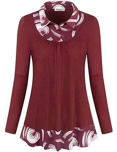 6b1bca0066ee1f Women fashion Tops · New Elemevol Women s Office Tunic Blouses Classy  Contrast Collar Form Fitting Long Sleeve Shirt Tops Christmas