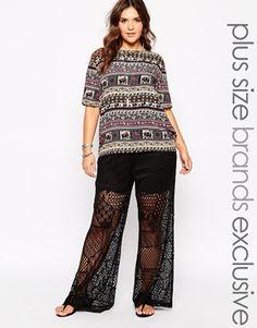 plus size lace palazzo pants