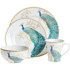 Peacock Garden 16 Piece Dinnerware Set