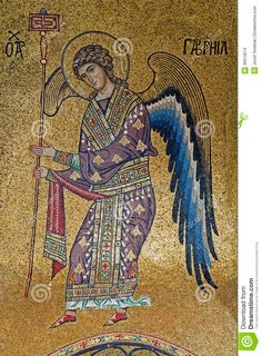 Palermo - Mosaic Of Archangel Gabriel From Church Of Santa Maria Dell Ammiraglio Stock Photo - Image of interior, byzantine: 30912674 Byzantine Art, Byzantine Mosaics, Order Of Angels, Angel Sculpture, Jesus Christus, Archangel Gabriel, Religious Icons, Catholic Art, Medieval Art