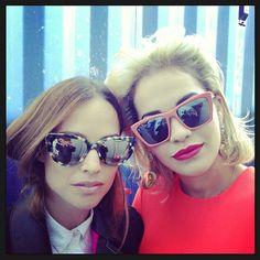 Rita Ora in Sydney Raspberry Black Mirror Sunglasses