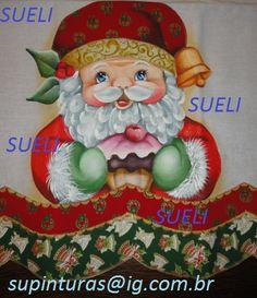 pano de prato natalino, pintura com aplicação de tecidos