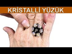 How to make crystal ring Beaded Necklace Patterns, Beading Patterns, Diy Jewelry, Beaded Jewelry, How To Make Crystals, Ring Tutorial, Handmade Rings, Beaded Rings, Love Ring