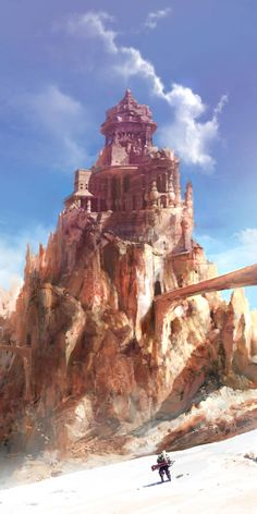 """In the deserts of Amarra, the warlords and princes hold court in palaces carved from """"the rock that endures"""".  (Stunning Environment & Character Concepts by Artcobain)"""