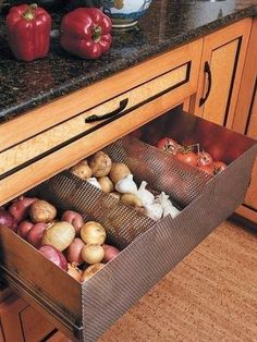 Whilst rummaging for kitchen remodel ideas we stumbled upon this brilliant solution on myhomeideas. What you see here is essentially a produce drawer built with a perforated stainless steel int...