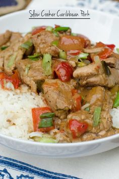 This Slow Cooker Caribbean Pork is a lean, flavor-packed meal! Crock Pot Slow Cooker, Crock Pot Cooking, Slow Cooker Recipes, Cooking Recipes, Diabetic Recipes, Healthy Cooking, Healthy Food, Pininyahang Manok Recipe, Pork