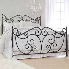 Queen Metal Bed Frame Design — Equutrails Homes Metal Bed Frame Queen, Metal Beds, Wrought Iron Bed Frames, Fancy Bed, Estilo Interior, Bed Frame Design, Bed Frame And Headboard, Iron Furniture, Furniture Design