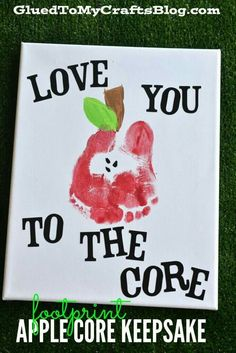 Handprint Gift Ideas {Roundup} Footprint Apple Core Keepsake Need fantastic ideas regarding arts and crafts? Head to my amazing info! Daycare Crafts, Classroom Crafts, Baby Crafts, Crafts For Kids, Infant Crafts, Daycare Rooms, Apple Crafts For Preschoolers, Fall Toddler Crafts, Infant Art Projects