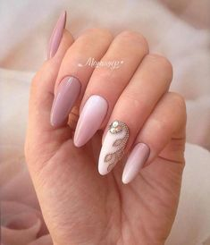 30 Perfect Pink And White Nails For Brides ❤ pink and white nails bridal ombre with gentle gold branch and rhinestones korelviktoria Square Nail Designs, White Nail Designs, Beautiful Nail Designs, Acrylic Nail Designs, Nail Art Designs, Perfect Nails, Gorgeous Nails, Pretty Nails, Perfect Pink