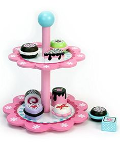 Childrens Wooden Play and Pretend Food Set, Dessert Stand with Delicious Treats! Wood Play Food- Desserts on Display Stand -- Check this awesome product by going to the link at the image.
