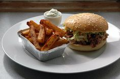 Pulled pork sandwich and triple-cooked fries