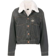 Isabel Marant rabbit fur-trimmed denim jacket (11.365 BRL) ❤ liked on Polyvore featuring outerwear, jackets, grey, fur jean jacket, lightweight jacket, grey blazer, grey jean jacket and grey denim jacket