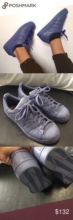 Adidas Pharrell Supercolor Released about 2 years ago. Won't release again. They are a periwinkle color. So like bluis-purple. Barely an heel drag. Worn 3 times and are just to big on me. Thought it was an 81/2 women's. It it's actually men's. So if you're a size 10-11 I. Woman's these would fit you. Does not come in box. Feel free to ask questions. Adidas Shoes Sneakers